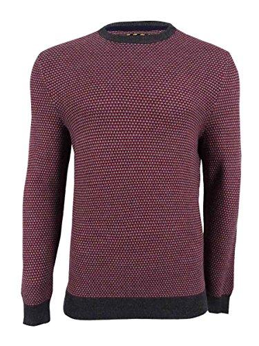 (Club Room Mens Merino Wool Blend Pattern Pullover Sweater Red M)