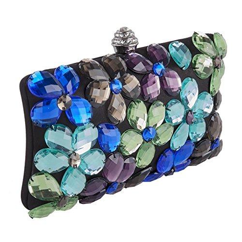 Bolsa de embrague, Naomi Negro, Multicolor, de raso