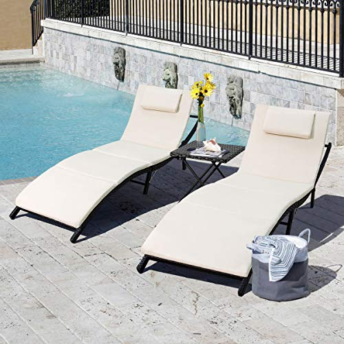 Tuoze Outdoor Patio Chaise Lounge Sets Adjustable Rattan Patio Folding Chaise Lounge with Folding Table 3 Pieces (Beige Cushion)