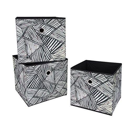 SbS Collapsible, Foldable Fabric Storage Boxes, Cubes, Bins, Baskets. Black & White Abstract Thatch pattern (3 Pack). Each Storage Bin Measures 11 inches on all sides