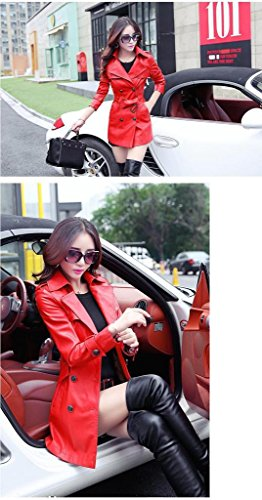 Femme Rouge Mode Cuir Bigood Ceinture Faux avec Hiver Automne Veste Manteau vwzRq5U