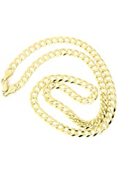 """Solid 14k Yellow Gold Comfort Cuban Curb 5.7mm Chain Mens Necklace 20"""", 22"""", 24"""", 30"""""""