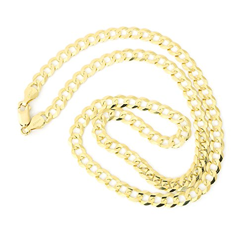 """Men's Solid 14k Yellow Gold Comfort Cuban Curb 5.7mm Chain Necklace, 24"""""""