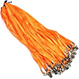 """Orange Lanyard Clip 50 Pack 17"""" Lanyards with Clip Badge Lanyard Bulk Neck Flat lanyards for Badge Holders"""
