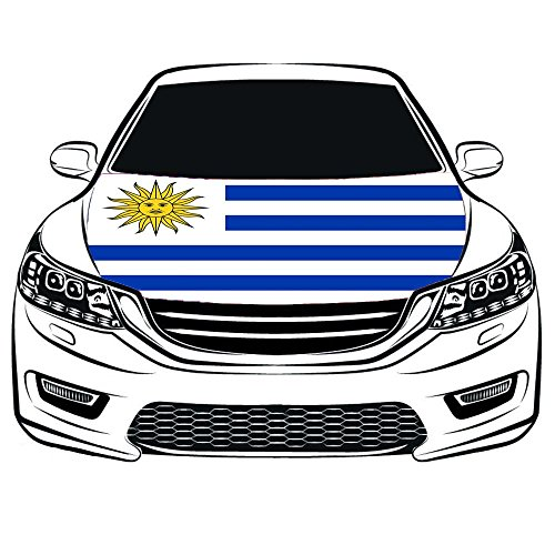The Oriental Republic of Uruguay Flag Car Hood Cover 3.3X5FT 100% Polyester,Engine Flag,Elastic Fabrics Can be Washed,Car Bonnet Banner