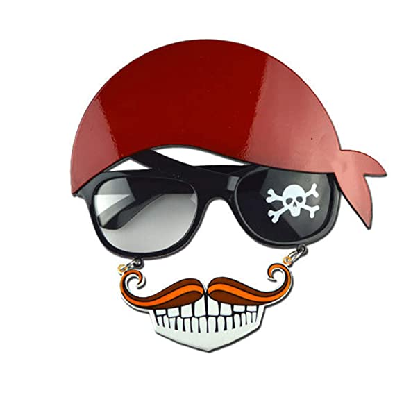 Gafas con forma de de barba, parche, y pañuelo de pirata para hallowen - Gafas de pirata.