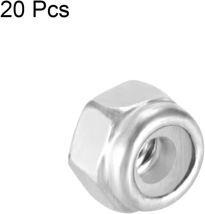 uxcell M2 x 0.4mm Nylon Insert Hex Lock Nuts 304 Stainless Steel Pack of 20 Plain Finish