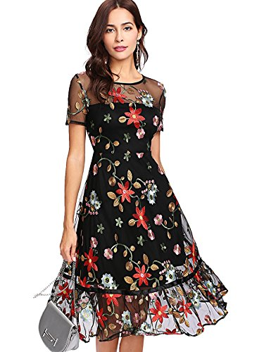 Verdusa Women's Floral Embroidery Mesh Overlay Ruffle Hem Dress Multicolor S