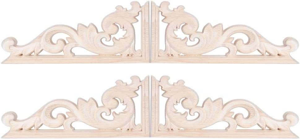 4Pcs European Style Vintage Wood Applique Rubber Wood Carved Corner Onlay Appliques Decal Home Furniture Decoration Accessories 13x7cm