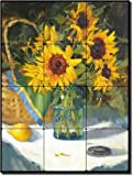 "Sunny Disposition by Judy Crowe - Sunflower Floral Tumbled Marble Tile Mural 16"" x 12"" Kitchen Shower Backsplash"