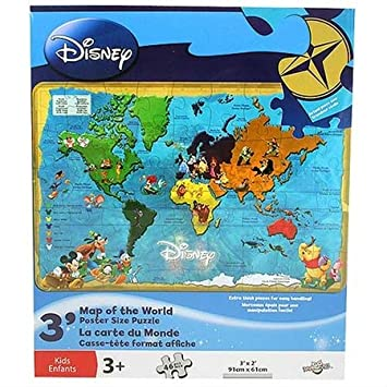 Disney Movie World Map.Disney Map Of The World Poster Size Puzzle 46 Pieces Amazon Co