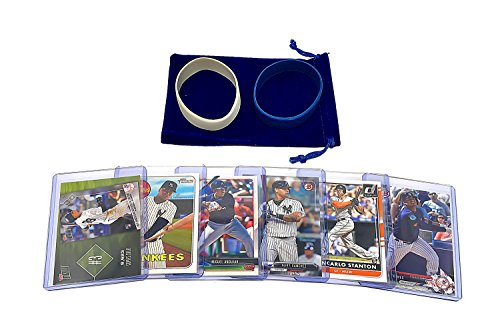 New York Yankees Baseball Cards: Aaron Judge, Gary Sanchez, Gleyber Torres, Giancarlo Stanton, Miguel Andujar, Didi Gregorius ASSORTED Trading Card and Wristbands (New York Yankees Team Pictures)