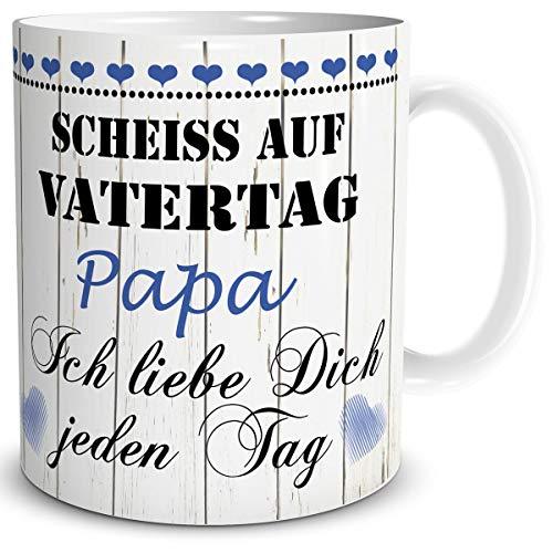 TRIOSK Tasse Papa mit Spruch lustig Scheiß auf Vatertag Papa Ich Liebe Dich Geschenk für besten Vater Geburtstag Vatertagsgeschenk