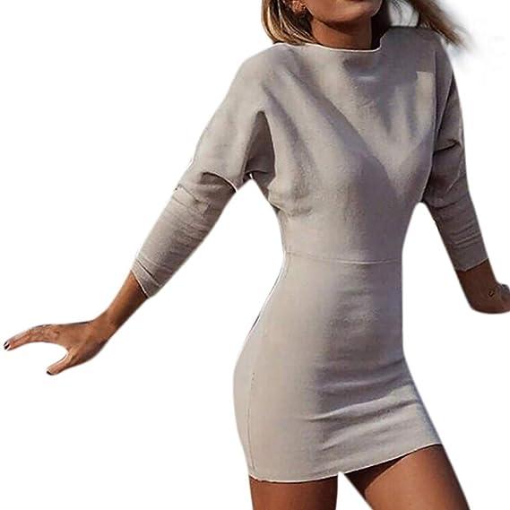 ❤ Modaworld Moda Suéter de Manga Larga con Cuello en V sólido Sexy para Mujer Bodycon Mini Vestido Delgado Vestidos de Fiesta Mujer Jesery: Amazon.es: ...