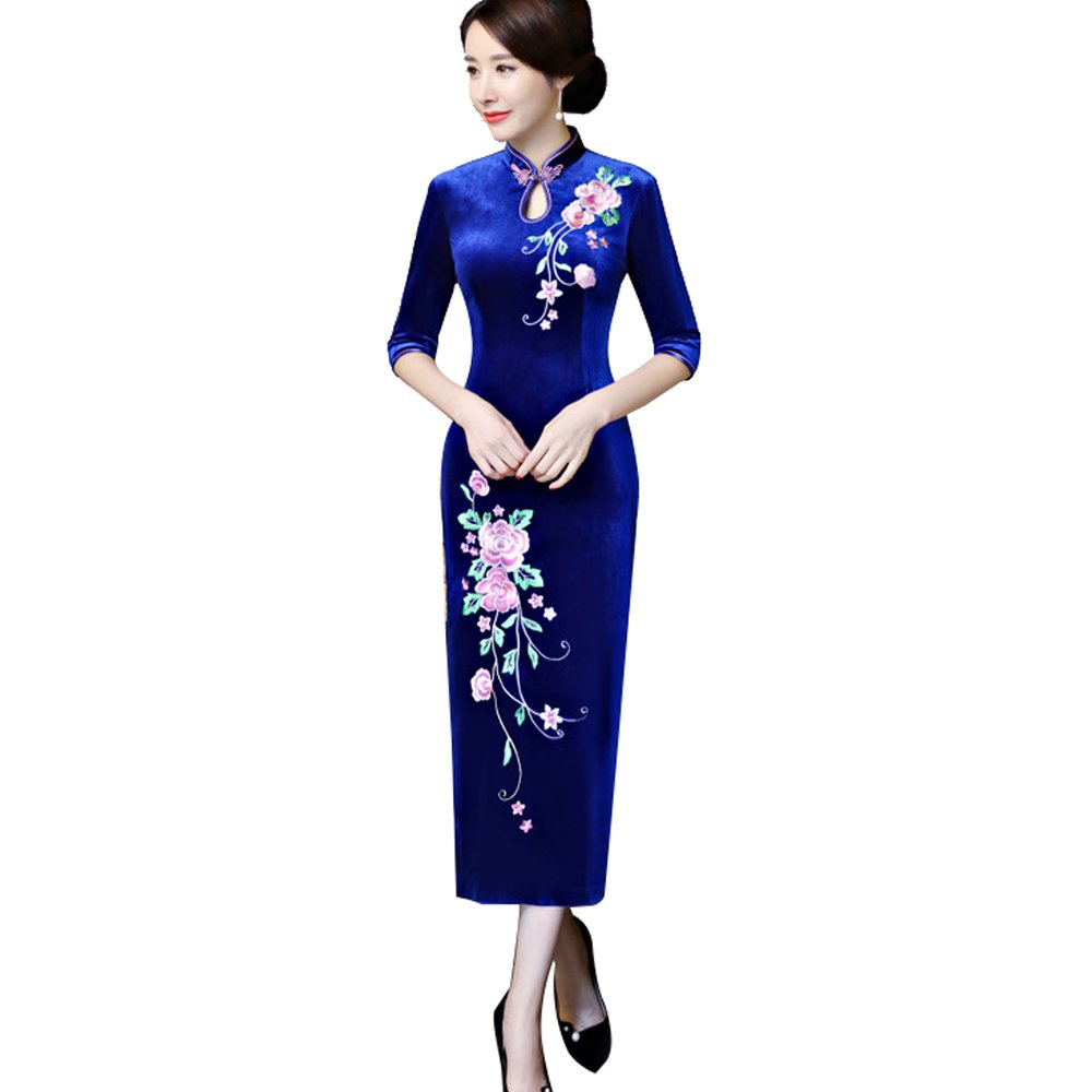 ZooBoo Chinese Cheongsam Qipao Dress - Oriental Traditional Wedding Outfit Clothing Costume for Girls Women - Velvet (XL, Blue)