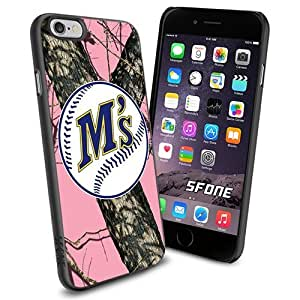Milwaukee Brewers MLB PinkCamo Logo WADE6238 Baseball iPhone 6 4.7 inch Case Protection Black Rubber Cover Protector