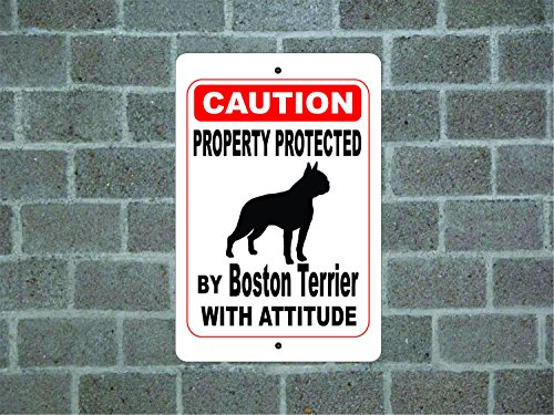 Novelty Decorative Sign Property Protected By Boston Terrier Guard Dog Warning Breed Aluminum Metal Sign 12 X 18 Yard Fence Sign Gift