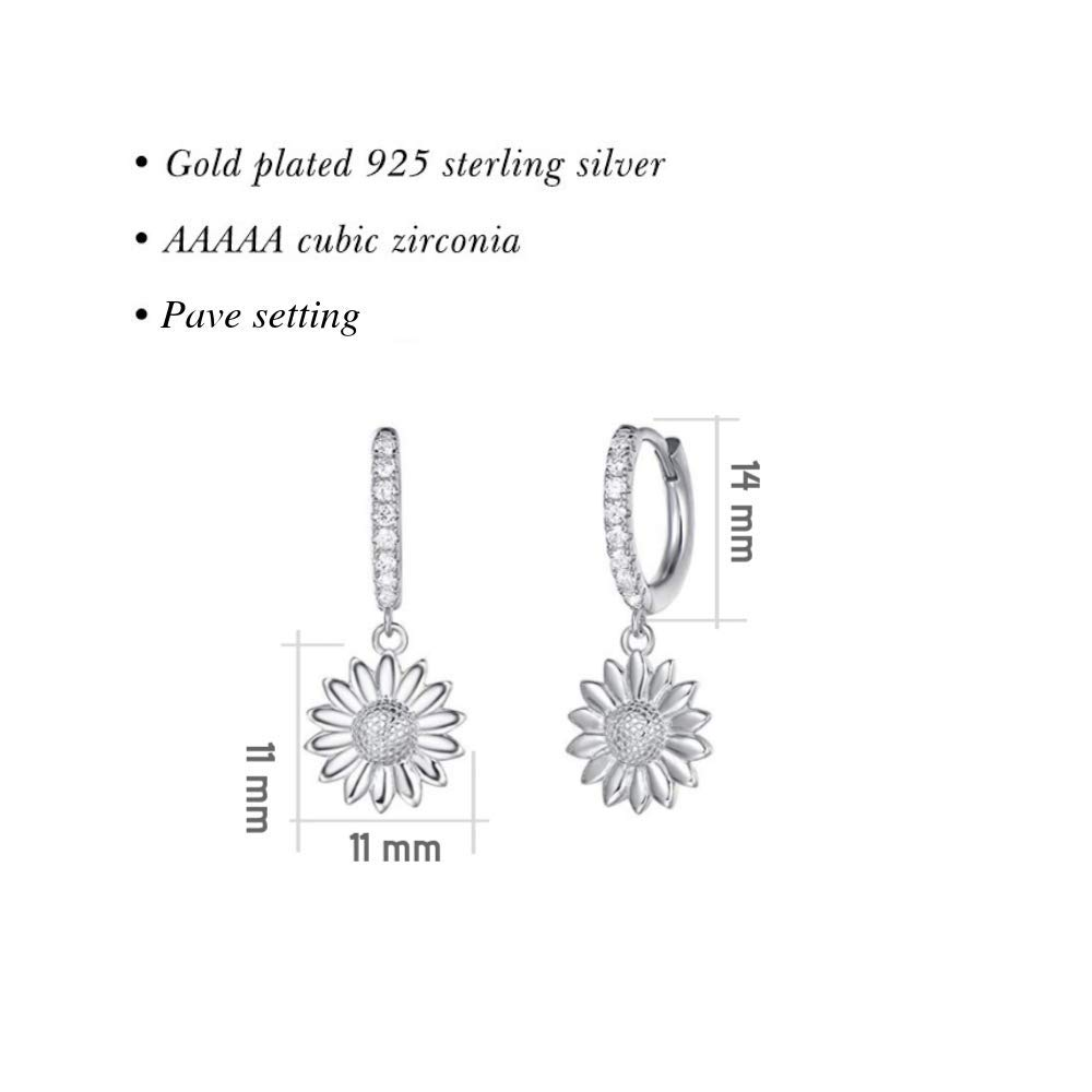 Carleen White Gold Plated 925 Sterling Silver CZ Cubic Zirconia Feather//Evil Eye//Turtle//Sunflower Daisy//Star Dangle Drop Small Hoop Earrings For Women Girls