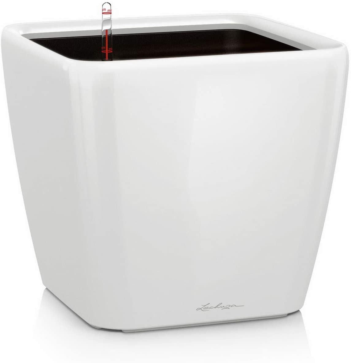 LECHUZA Quadro LS 35 Self Watering Planter Garden Flower Plant Pot Indoor/Outdoor Floor Planter with Drainage Hole and Plant Substrate Poly Resin H33 L35 W35 cm White High-Gloss