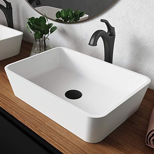 Kraus C-KSV-2MW-1200MB Natura & Arlo Bathroom Sink and Faucet, Matte Black, Rectangular 19.7 x 13.8 Inch