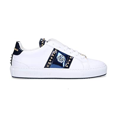 new arrival 931b5 d9d99 Philipp Plein Damen Wsc0963114 Weiss Leder Sneakers: Amazon ...