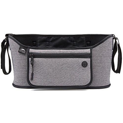 Nordic By Nature Detachable Stroller Organizer With Insulated Cup Holders | Universal Fit With Adjustable Holders | Doubles As Backseat Organizer | The Stroller Caddy Bag Every Mom Needs | Grey