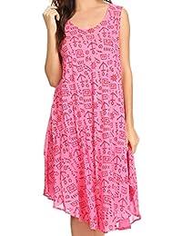 Sakkas Yara Sleeveless Casual Summer Cotton Print Beach Cover Up Swing Tank Dress