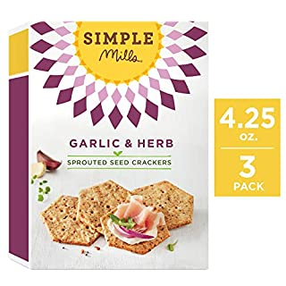 Simple Mills Sprouted Seed Crackers, Garlic & Herb, 4.25 oz, 3 count (PACKAGING MAY VARY)