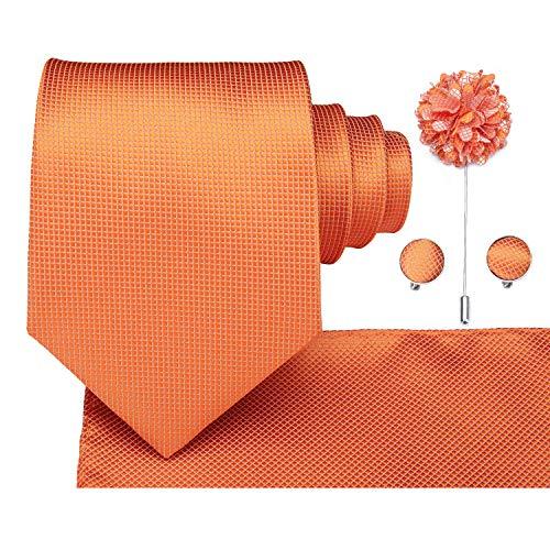 Dubulle Mens Orange Tie and Pocket Square Lapel Flower Pin Cufflinks Wedding Necktie Set