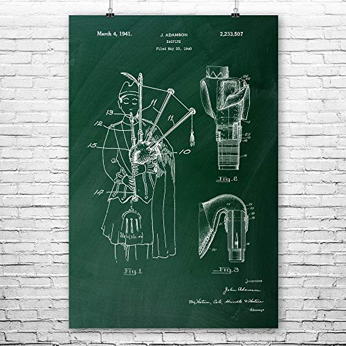 Patent Earth Bagpipe Poster Print, Musician Gift, Celtic Music, Scottish Instruments, Band Leader, Folk Songs, Concert Player Chalkboard (Green) (12