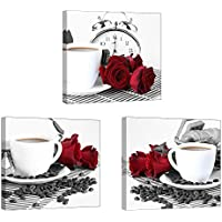 Rose Wall Art for Kitchen/Dining Room, SZ 3 Piece...