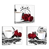"""dining room wall art Rose Wall Art for Kitchen/Dining Room, SZ 3 Piece Romantic Canvas Prints of Red Roses and Coffee Beans, Still Life Painting Picture (Waterproof Artwork, 1"""" Thick Frame, Bracket Mounted Ready to Hang)"""