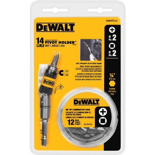 DEWALT DWPVTC14 14-piece Pivot Holder - Bit Shank 1/4 Inch Hex Flexible