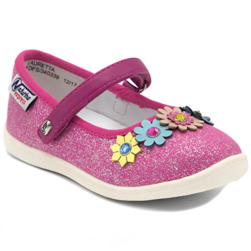 Naturino Express Lauretta by Mary Jane Shoe with Flower Ordament and Velcro Strap Closure - Kid Express Leather Mary Janes
