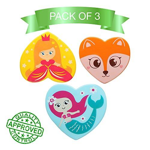Kids Bath Mat Bathtub Mats Non-Slip Mildew Resistant Shower Mat Princess Mermaid Fox. Set of 3 pcs. ()