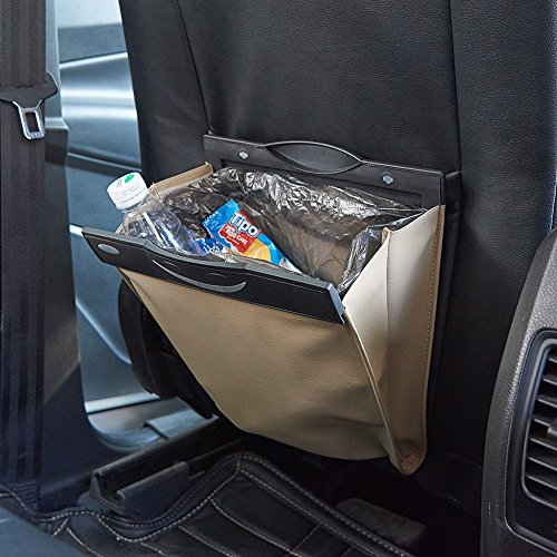 UR URLIFEHALL Beige Portable Car Trash Can Auto Back Seat PU Leather Car Garbage Can Auto Trash Bin Garbage Bags Car Pocket Organizer Wastebasket Bag
