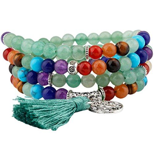 rockcloud 108 Stones Tibetan Mala Bracelet Necklace 7 Chakra Beads Buddhist Prayer Meditation Healing Crystal,Green Aventurine (Beads Buddhist Tibetan Prayer)