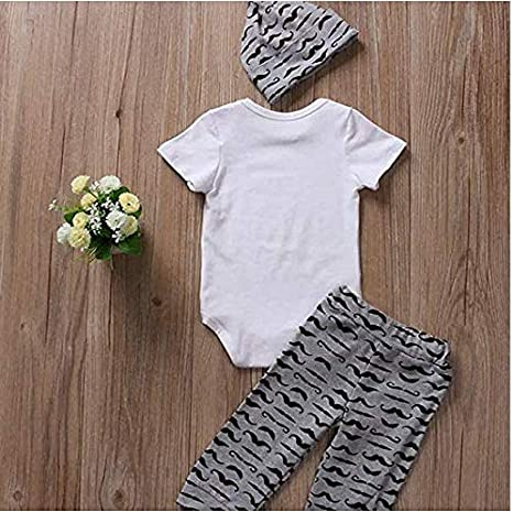 Hailouhai Newborn Baby Cute Boy Clothes Romper Tops Short Sleeve Mommys New Man T-Shirt Tops+Moustache Pants+Hat 3Pcs Summer Outfits