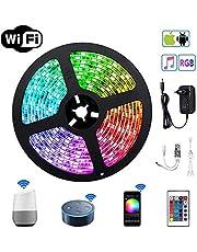 LED Stripes Streifen Bänder Farbwechsel Selbstklebend Lichtband mit Ferbedienung und Smart WiFi Kontroller, steuerbar via App, 12V 24W für Haus, Garten, Dekoration EINWEG