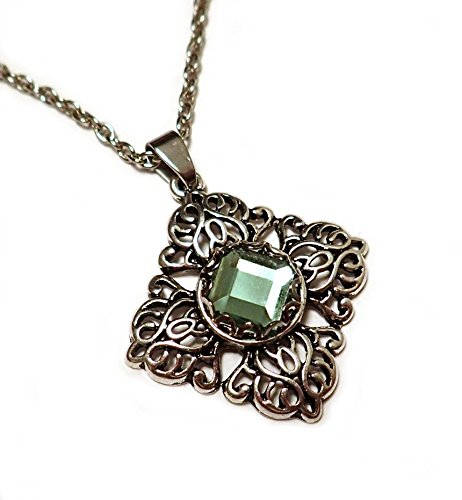 Silver Filigree Pendant Light Green Rhinestone - Renaissance Outdoor Pendant
