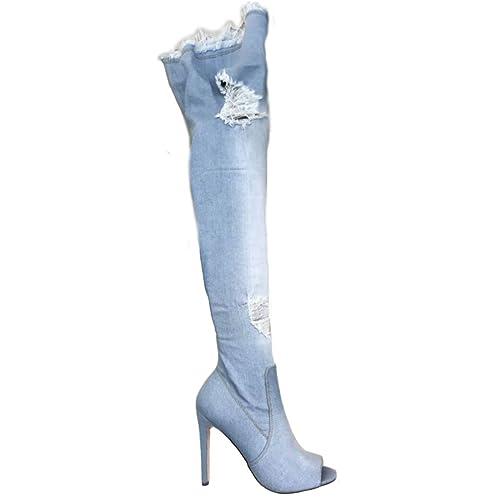 Toocool - Scarpe donna stivali denim jeans strappati alti sopra ginocchio  nuovi KS7039  Amazon.it  Scarpe e borse ceeac441622