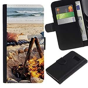 Billetera de Cuero Caso Titular de la tarjeta Carcasa Funda para Samsung Galaxy S6 SM-G920 / Summer Flame Fire Ocean Beach / STRONG