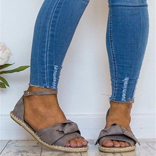 Bowknot Plate 44 Loisir Boucle forme Femme Gris Plage 35 Toe Chaussures Pinke Sandales Été Peep Strappy Pour Z7w4qXz