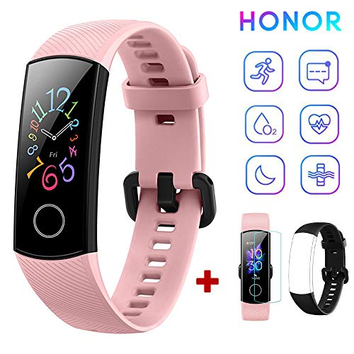 HONOR Band 5 Fitness Tracker Heart Rate Monitor AMOLED 0.95 Inch Smart Watch 5ATM Waterproof Bluetooth 4.2 (Pink)
