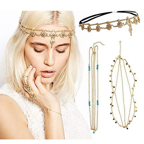 DRESHOW Head Chain Hair Accessories Bohemian Diamond Pearl Tassel Hair Band Chain Headband 3 Pack