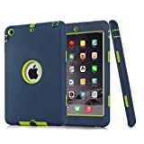 iPad Mini Case,iPad Mini 2 Case,iPad 3 Case,MAKEIT Dual Layer Hybrid Armor Protection Defender Case Cover for iPad Mini 1/2/3 (Dark Blue/Fluorescent green)