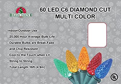 Holiday Essence 60 LED C6 Diamond Cut, Multi Color Lights, Professional Grade for Indoor & Outdoor Use - Energy Efficient LED Bulbs with Green Wire