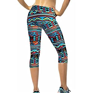 Ancia Womens Tartan Active Workout Capri Leggings Fitted Stretch Tights Medium Green