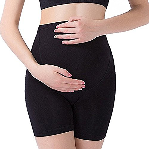 Cotton Maternity Underwear Shorts Seamless Pregnancy Panties High Cut Black M