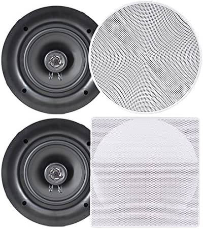 Amazon Com Pyle Ceiling Speakers Stereo Home Theater Speakers In Wall Speakers Flush Mount 8 Inch White 250 Watt 2 Way Pair Pdic86 Home Audio Theater